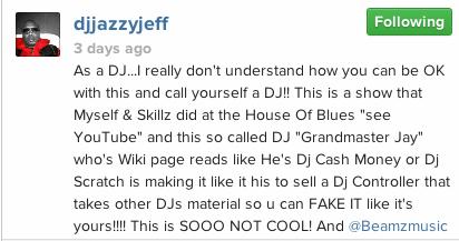 Jazzy Jeff responds to beamz dj
