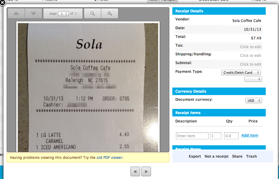 shoeboxed iphone receipt example
